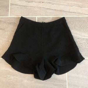 Lush Clothing Black Ruffle Shorts